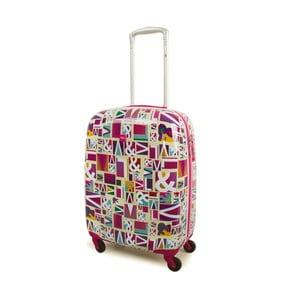 Růžový cestovní kufr s barevnými vzory V&L