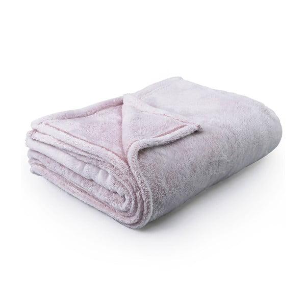 Světle růžová deka z mikrovlákna DecoKing Fluff Powderpink, 170x210cm