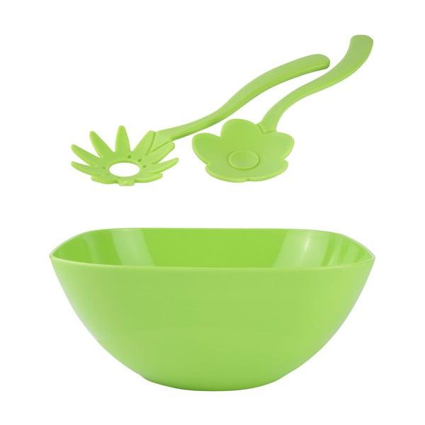 Salátová mísa 26 cm s příborem, zelená