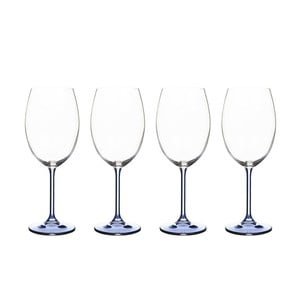 Sada 4 sklenic na víno ze modrého křišťálového skla Bitz Fluidum, 450 ml