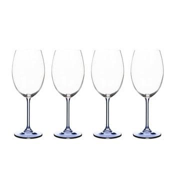 Set 4 pahare pentru vin din cristal Bitz Fluidum, 450 ml, albastru de la Bitz
