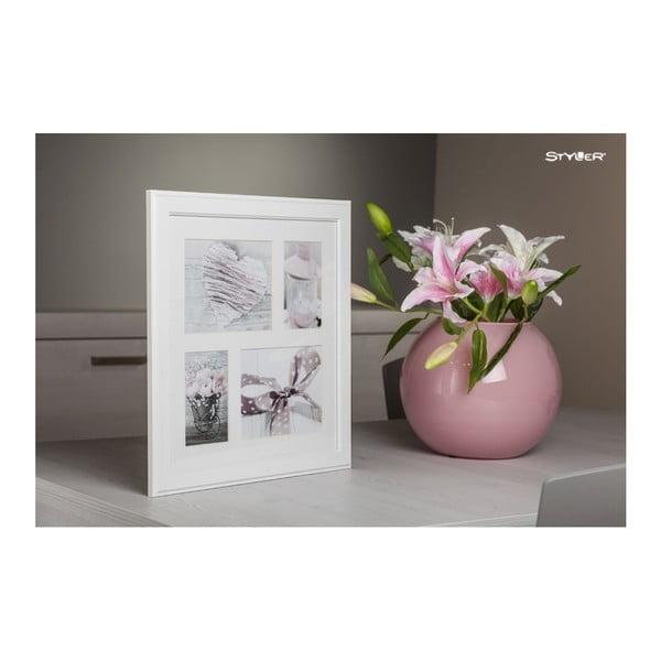 Bílý rámeček na 4 fotografie Styler Malmo, 39x39cm