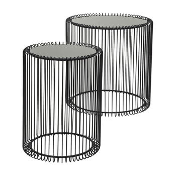 Set 2 măsuțe Kare Design Wire High, negru de la Kare Design
