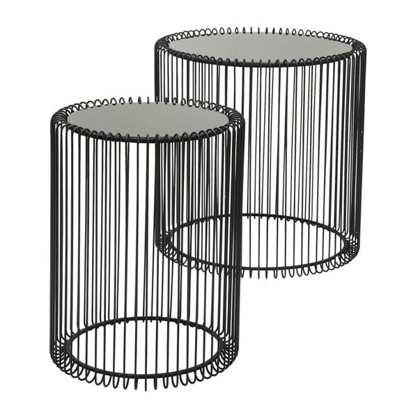 Set 2 măsuțe Kare Design Wire High, negru