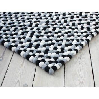 Covor cu bile din lână Wooldot Ball Rugs, 100 x 150 cm, alb - negru