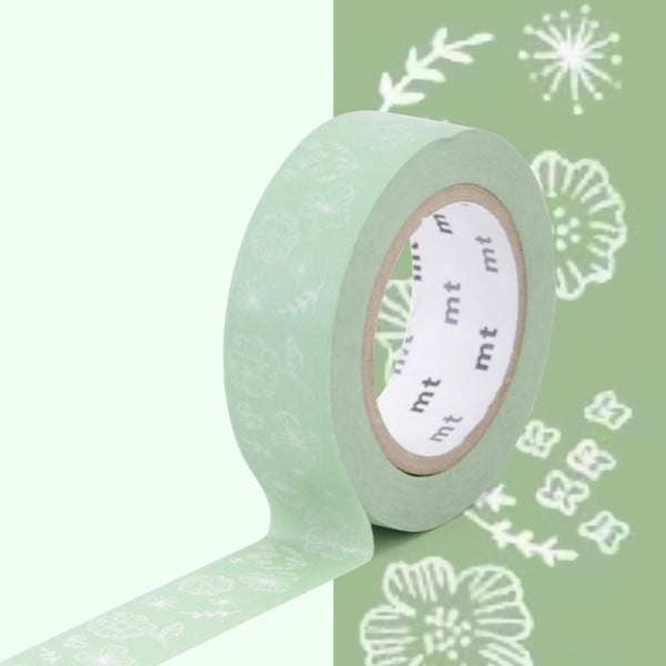 Bandă washi MT Masking Tape Wild Flower, verde