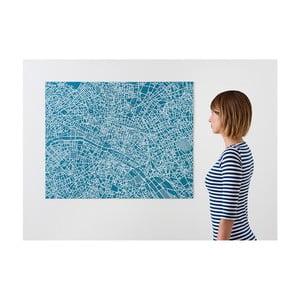 Modrá nástěnná mapa Palomar Pin Paříž