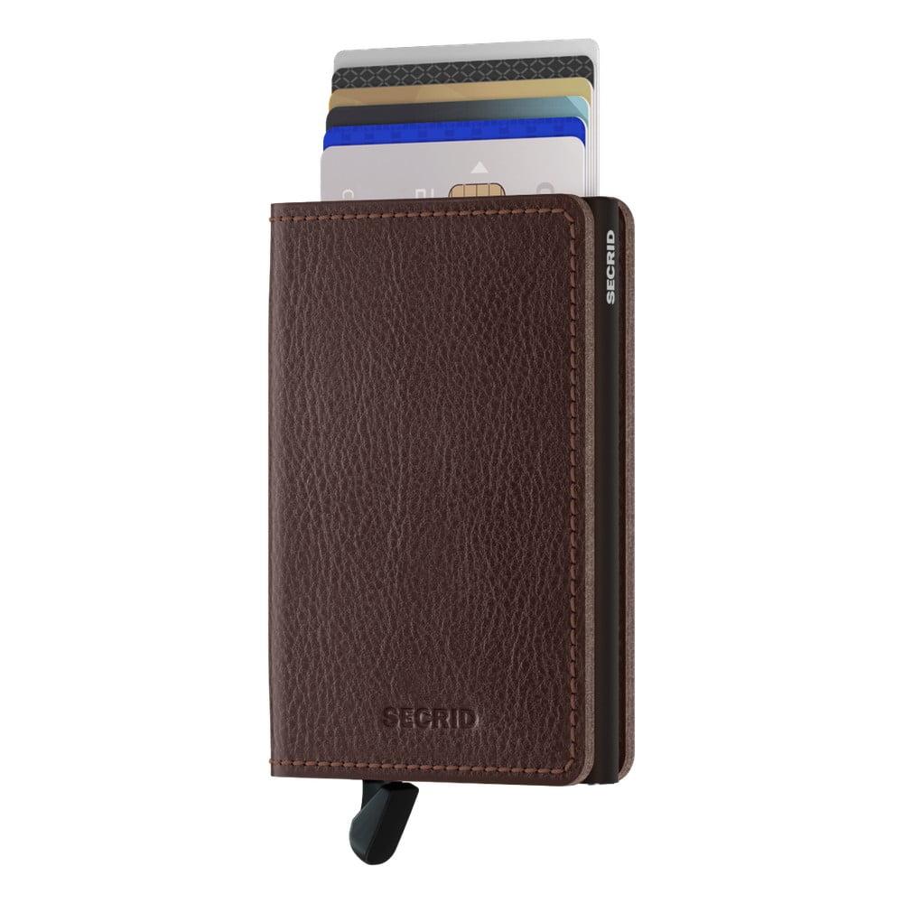 Hnědá kožená peněženka s pouzdrem na karty Secrid Elegance