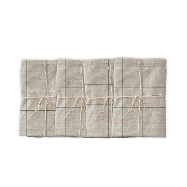 Set 4 șervețele textile Linen Couture Turquoise Lines, 43 x 43 cm