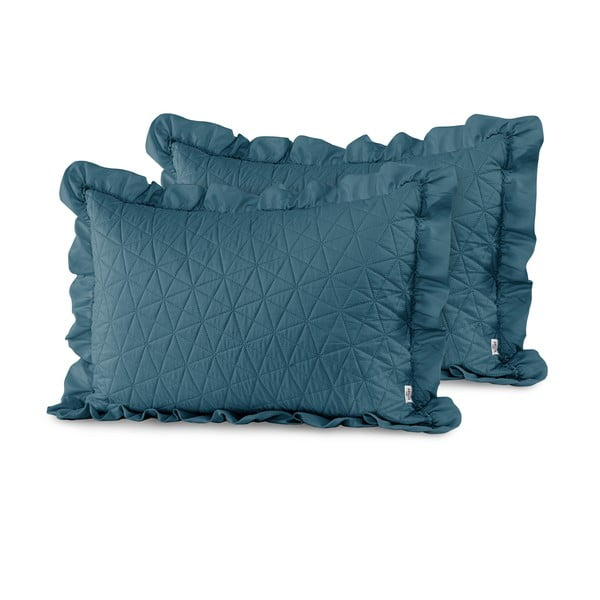 Sada 2 modrých obliečok na vankúš AmeliaHome Tilia Marine, 70 x 50 cm