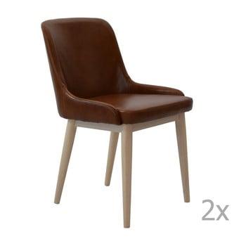 Set 2 scaune din piele RGE Edgar, maro de la RGE