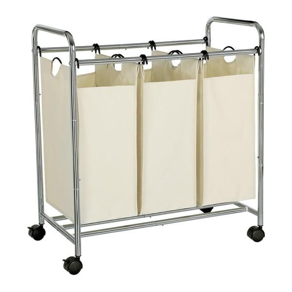 Biały kosz na pranie na kółkach z 3 segmentami Songmics