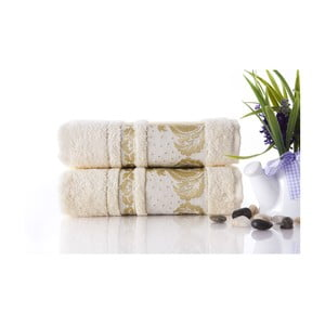 Set dvou ručníků Antik Gold Cream, 50x90 cm