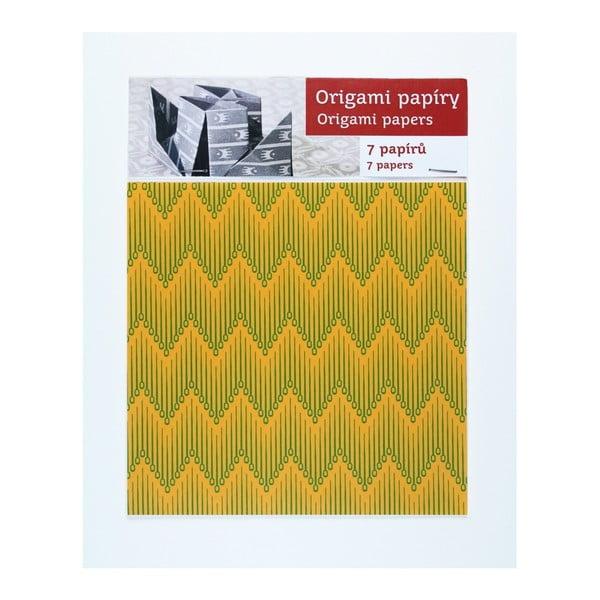 Zeleno-žluté  origami papíry Calico