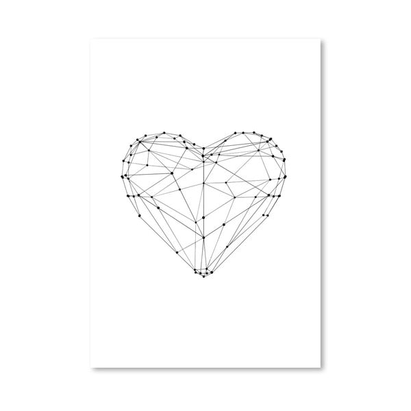 Plakát Love Heart Wire Polygon, 42x60 cm