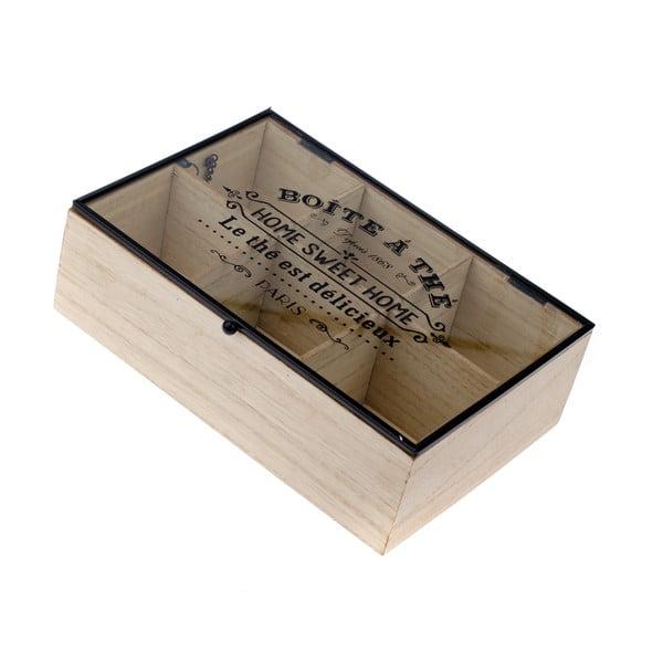 Cutie din lemn pentru ceai cu 6 compartimente Dakls Hannah, 24x16cm