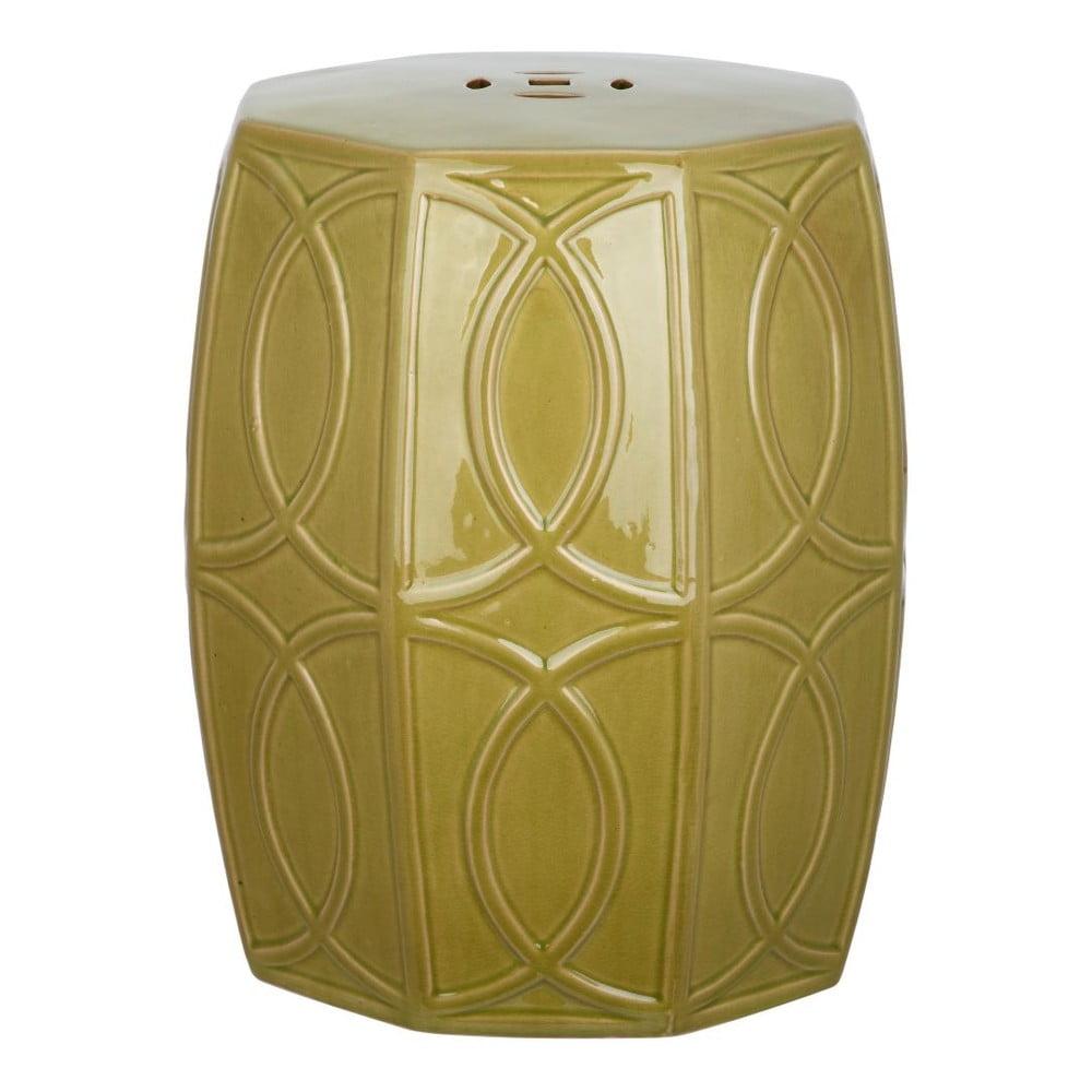 Zelený keramický odkládací stolek vhodný do exteriéru Safavieh Fiona