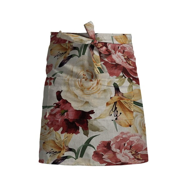 Kvetinová zástera s prímesou ľanu Linen Couture Delantal Spring Flowers