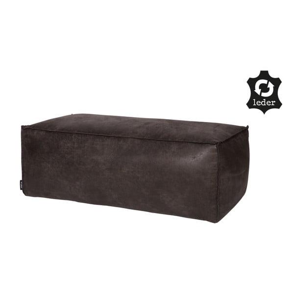Rodeo fekete puff újrahasznosított bőrhuzattal - BePureHome
