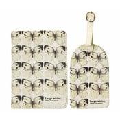 Obal na cestovní pas a štítek na kufry Gift Republic Butterflies