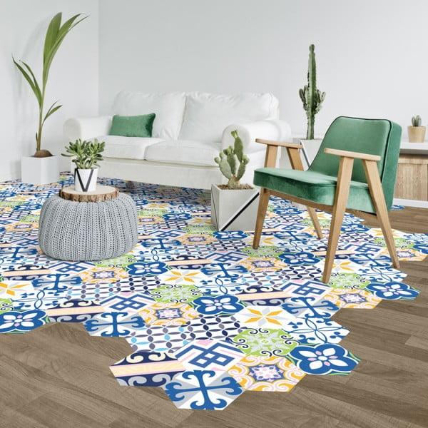 Sada 10 samolepek na podlahu Ambiance Hexagons Bella, 20 x 18 cm