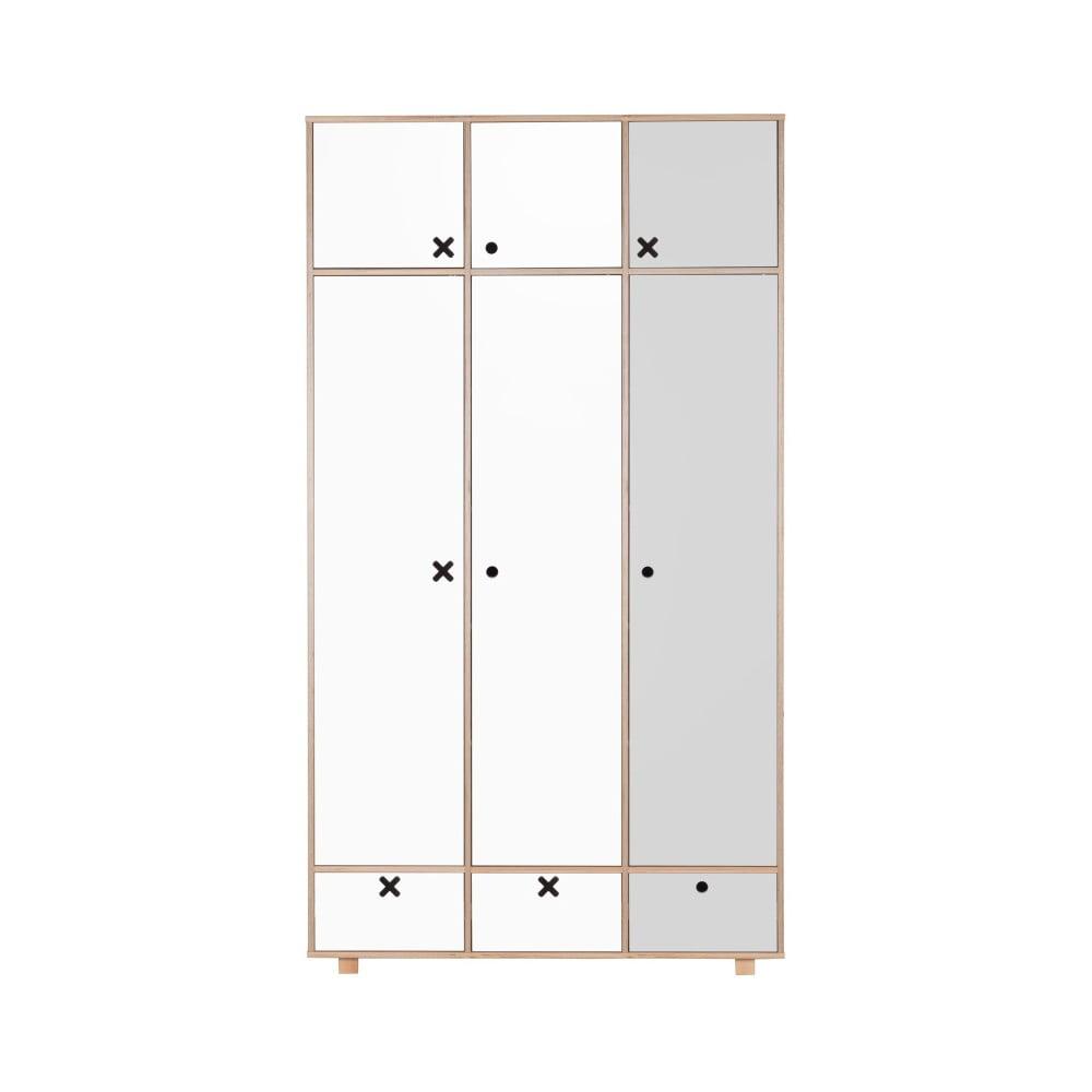 Bílo-šedá třídveřová šatní skříň Durbas Style
