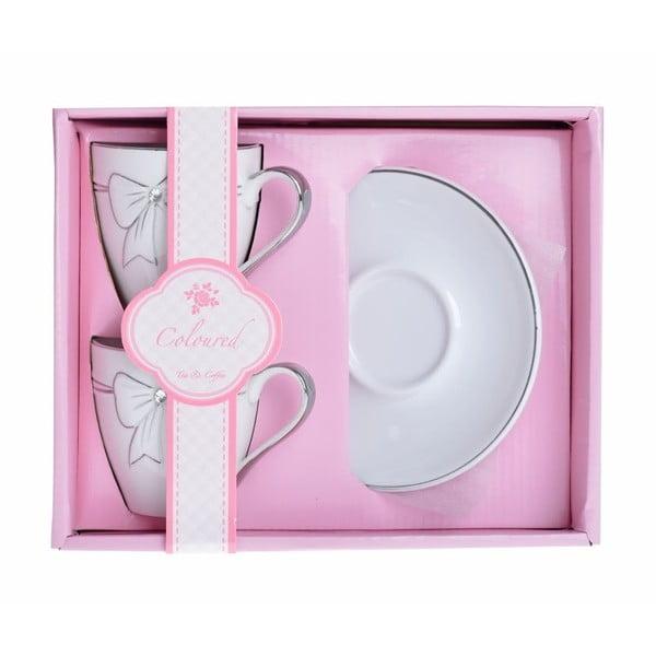 Sada 2 porcelánových šálků s podšálky na cappuccino Ewax