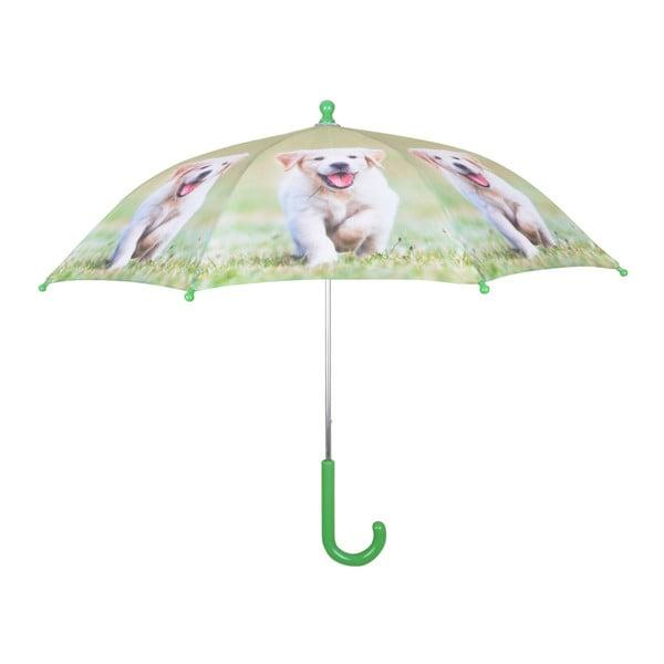 Jasnozielona parasolka z nadrukiem szczeniaczka Esschert Design Animals