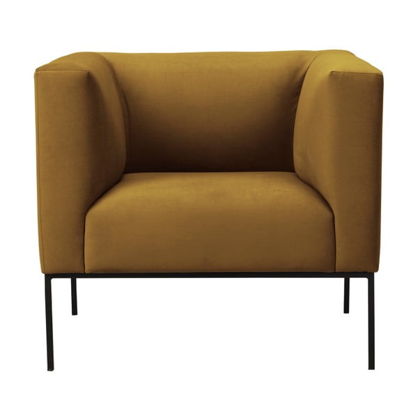 Žlté zamatové kreslo Windsor & Co Sofas Neptune