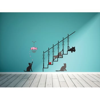 Autocolant Ambiance Cats stairs and rose petals