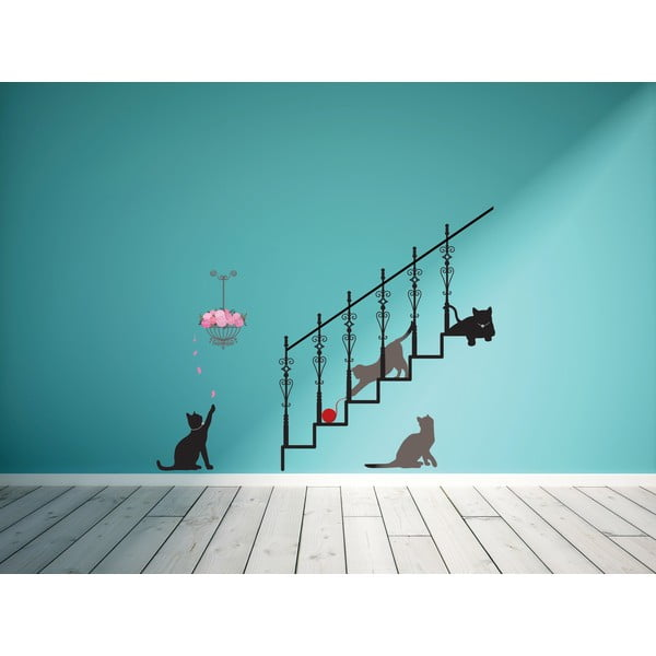 Samolepka Ambiance Cats, stairs and rose petals