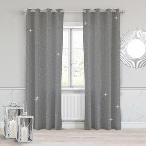 Tmavě šedý závěs Slowdeco Dots, 140 x 250 cm