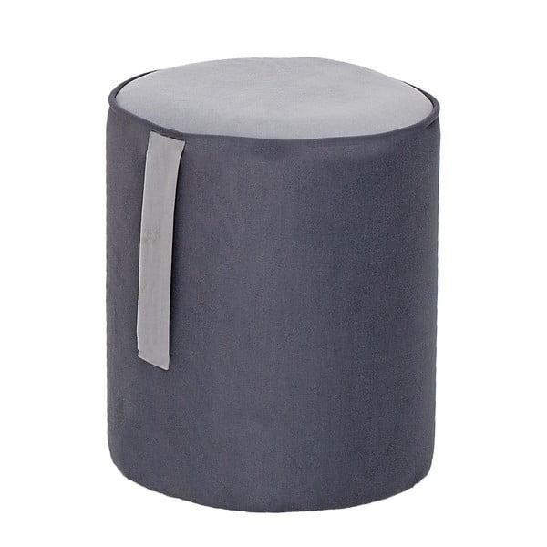 Kulatý puf Ghina, šedý s šedým detailem
