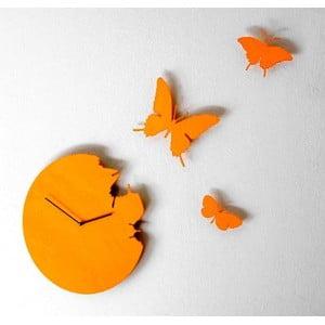 Designové hodiny Butterfly Diamond Yellow, 40 cm