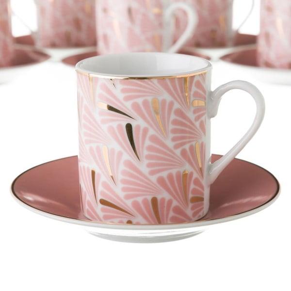Sada 6 růžových porcelánových hrnečků s podšálky Unimasa Belle, 100ml
