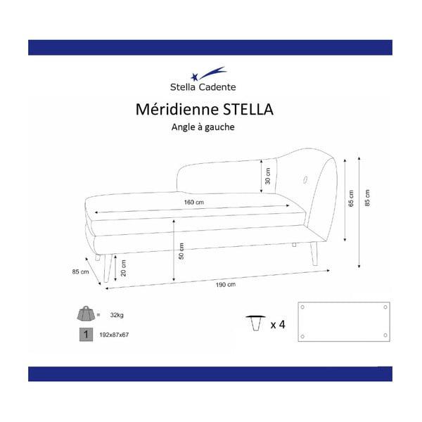 Șezlong cu cotieră pe partea stângă Scandi by Stella Cadente Maison Lounge, galben