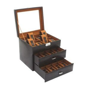 Tmavě hnědý box na 24 hodinek Friedrich Lederwaren Bond