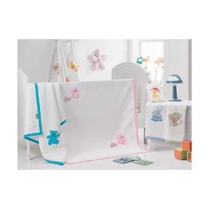 Přehoz Růžová kočička s vozíkem, 100x120 cm