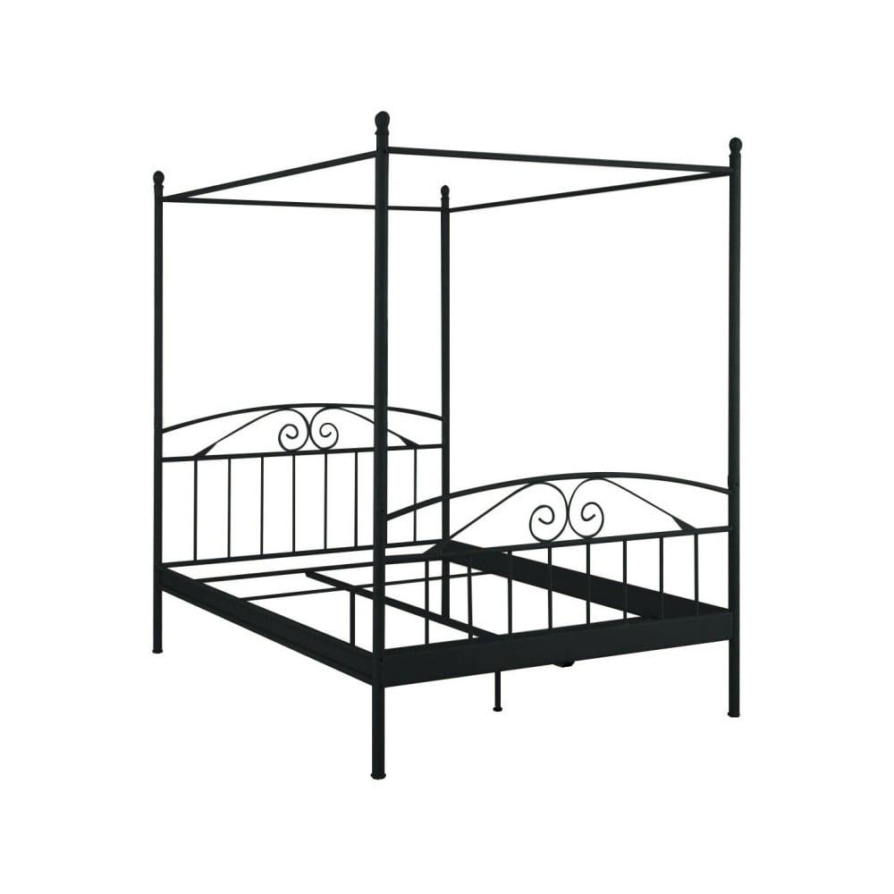 Černá dvoulůžková postel s nebesy Støraa Bibi, 140x200cm