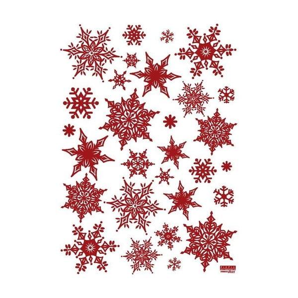 Set 30 autocolante de Crăciun Ambiance Christmas Red Flakes