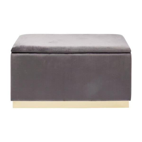 Hnědá sametová lavice s úložným prostorem Kare Design Cherry