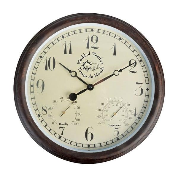 Vonkajšie hnedé nástenné hodiny s arabskými číslicami a teplomerom Ego Dekor