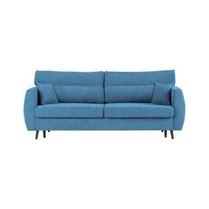 Modrá trojmístná rozkládací pohovka s úložným prostorem Cosmopolitan design Brisbane, 231x98x95cm