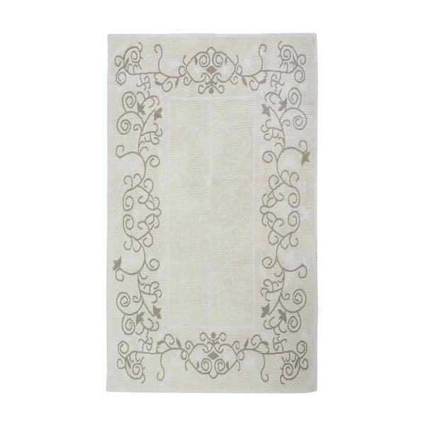 Krémový bavlněný koberec Floorist Floral, 80x300cm