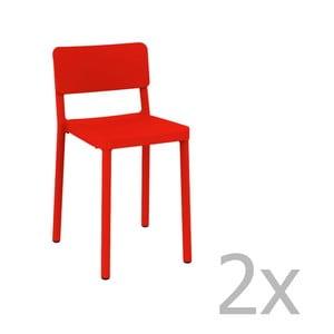 Sada 2 červených barových židlí vhodných do exteriéru Resol Lisboa, výška 72,9 cm