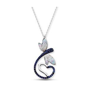 Colier argintiu cu pandantiv albastru Baghira Dragonfly