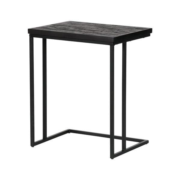 Čierny odkladací stolík s doskou z recyklovaného teakového dreva De Eekhoorn Shape