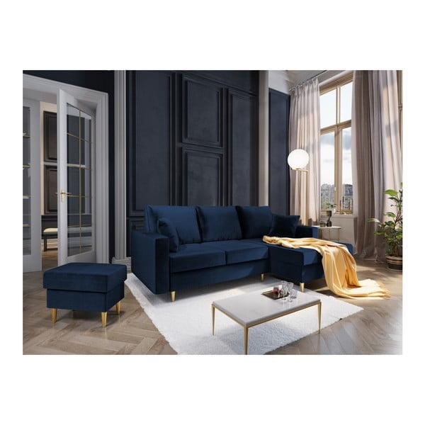 Modrá čtyřmístná rozkládací pohovka s úložným prostorem Mazzini Sofas Muguet, pravý roh