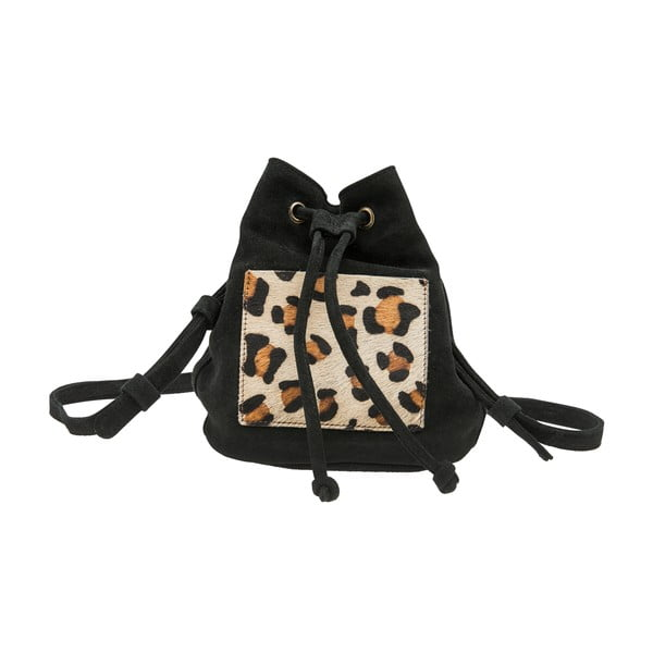 Černý semišový batoh O My Bag Leopard