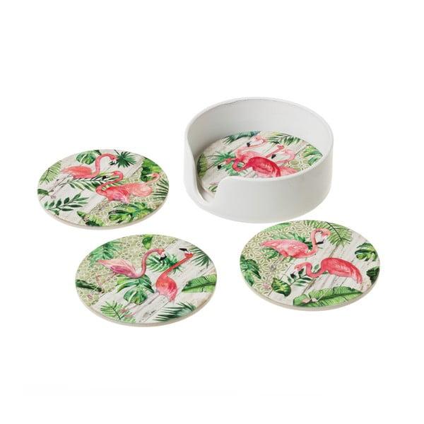 Set 4 suporturi din ceramică pentru pahar Unimasa Flamingos
